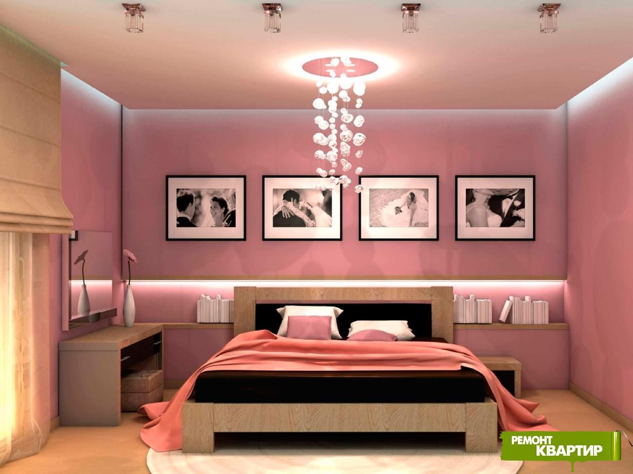 Дизайн спальни розовые стены