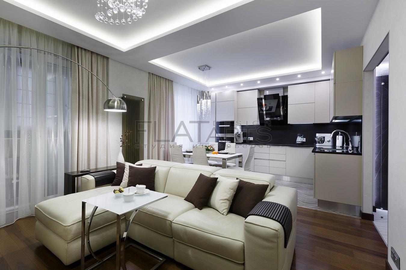 дизайн проект кухни гостиной 40 кв.м фото