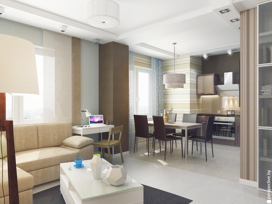 Интерьер гостиной кухни в светлых тонах фото