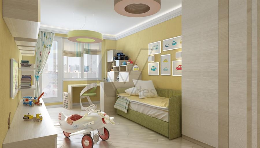 """Дизайн детской комнаты в двухкомнатной квартире """" современны."""