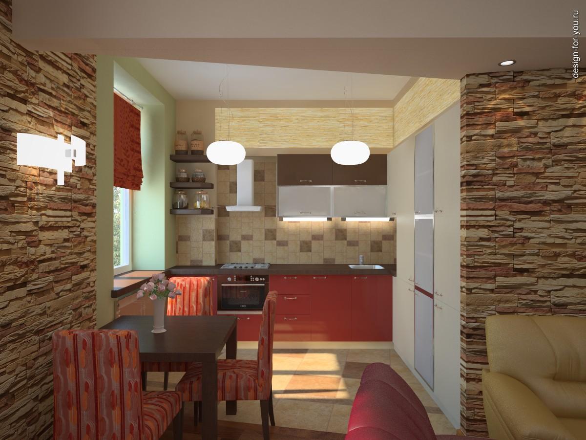 Гостиная совмещенная с кухней в хрущевке дизайн