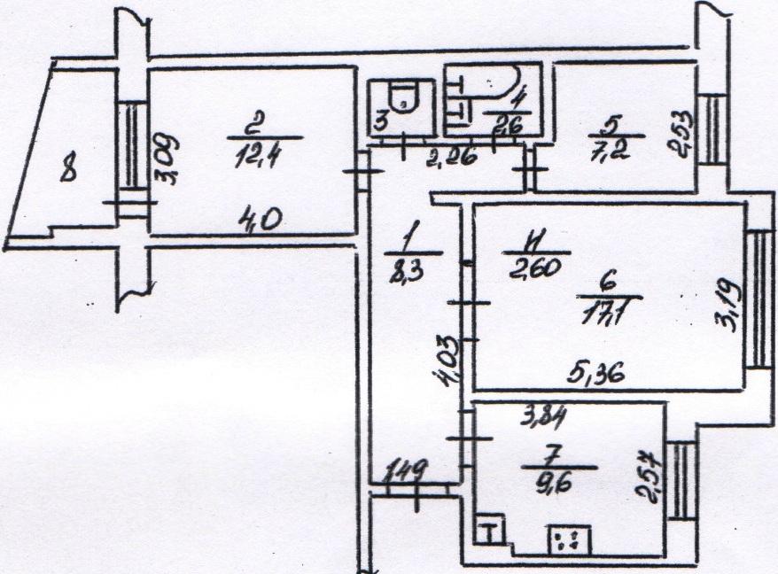 """Планировка 4-х комнатной квартиры в 5 этажном доме """" совреме."""