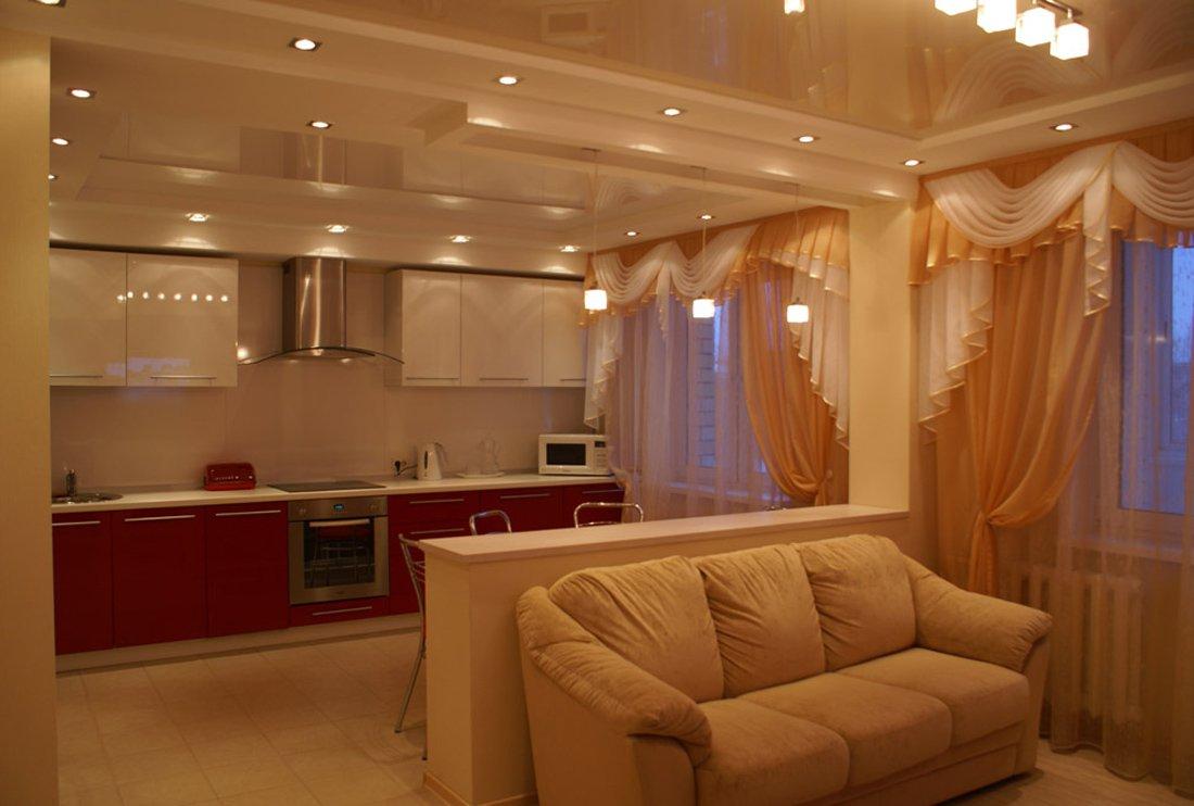 Совмещенные зал и кухня дизайн