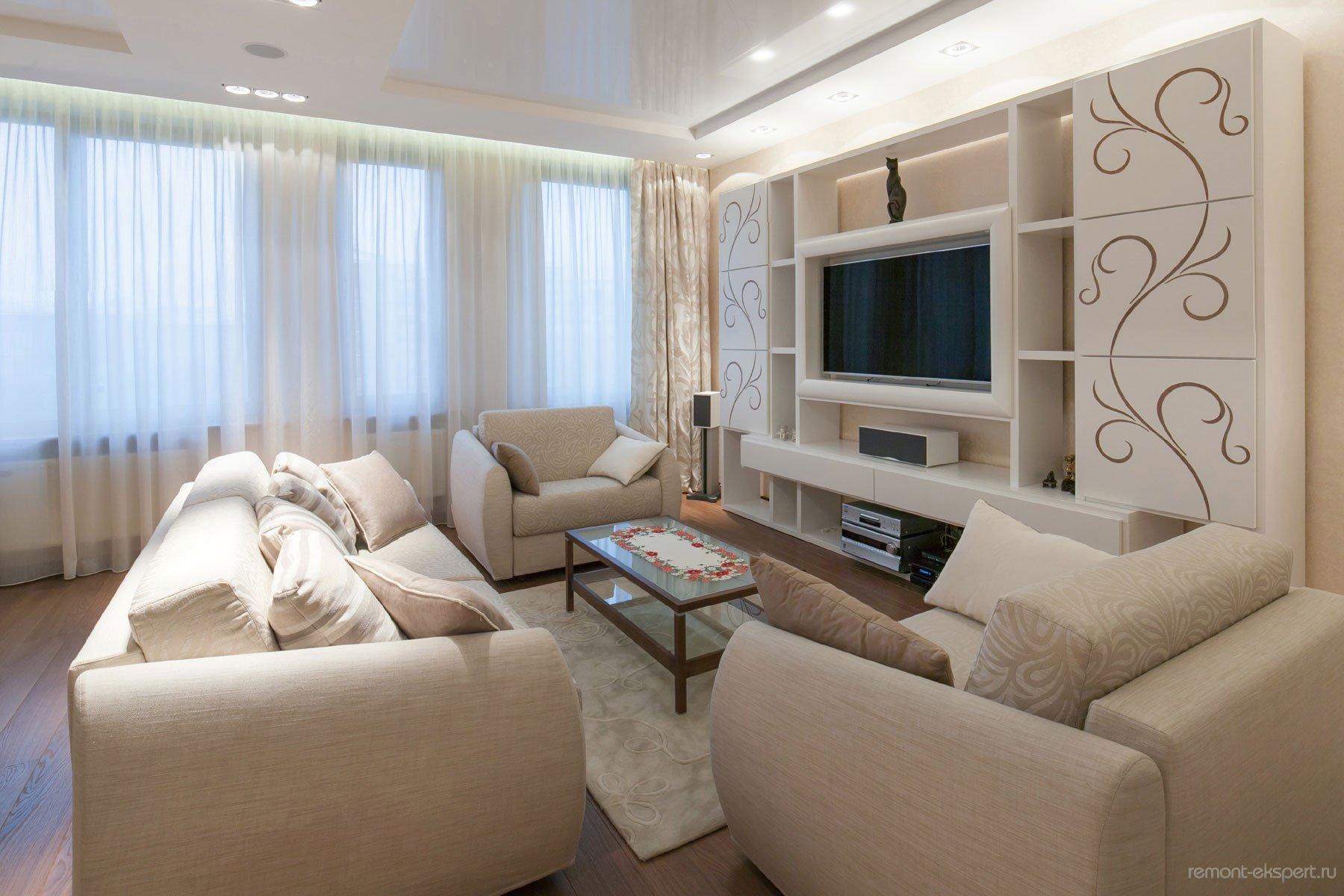 Фото дизайна гостиной в бежевых тонах