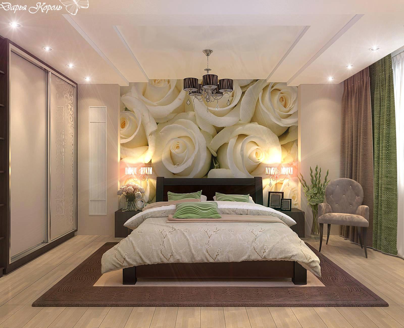 Фотообои дизайн спальни розы