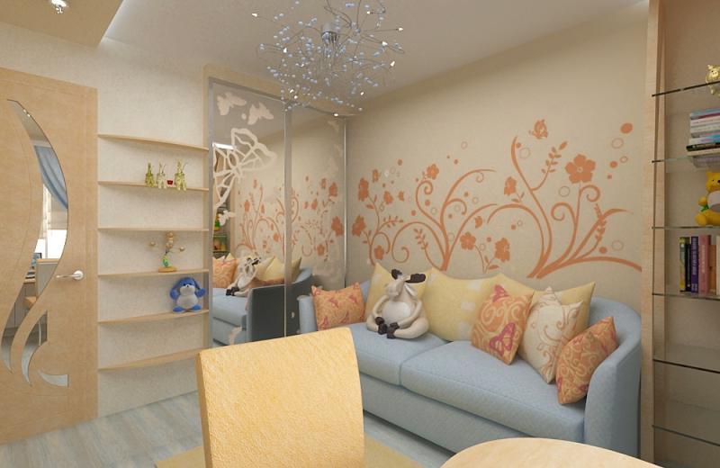 Дизайн комнаты 10 кв.м с диваном
