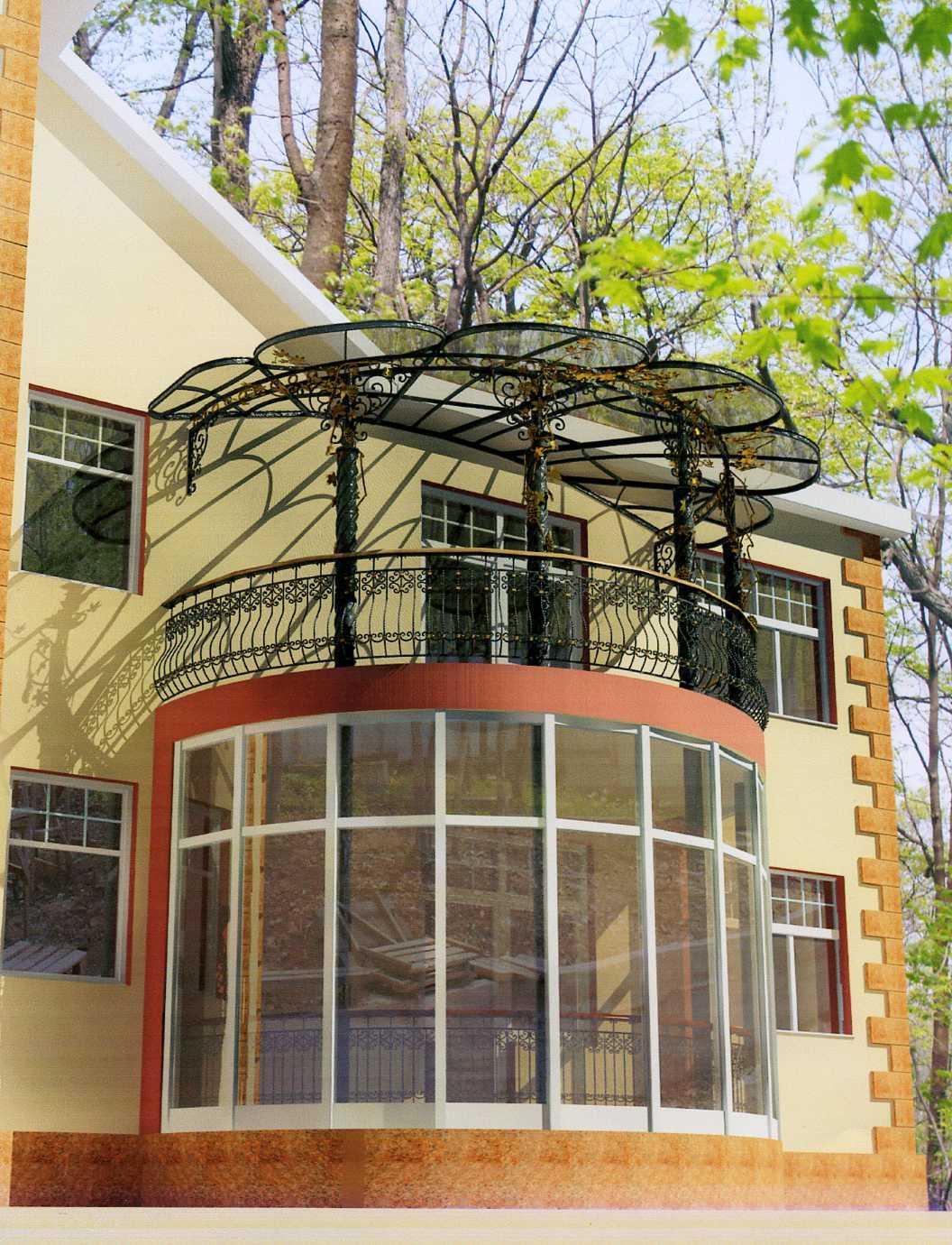 """Дизайн балконов в частных домах """" современный дизайн."""