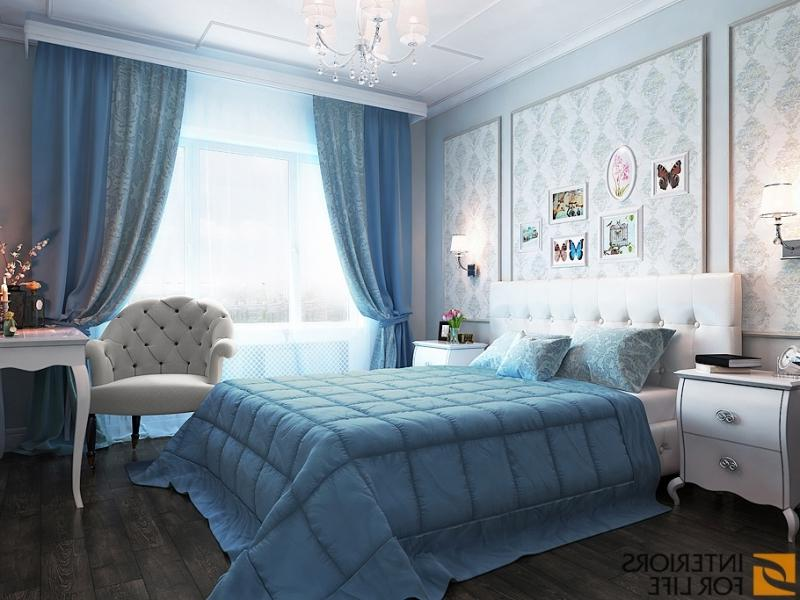 Интерьер спальни в серо голубых тонах фото