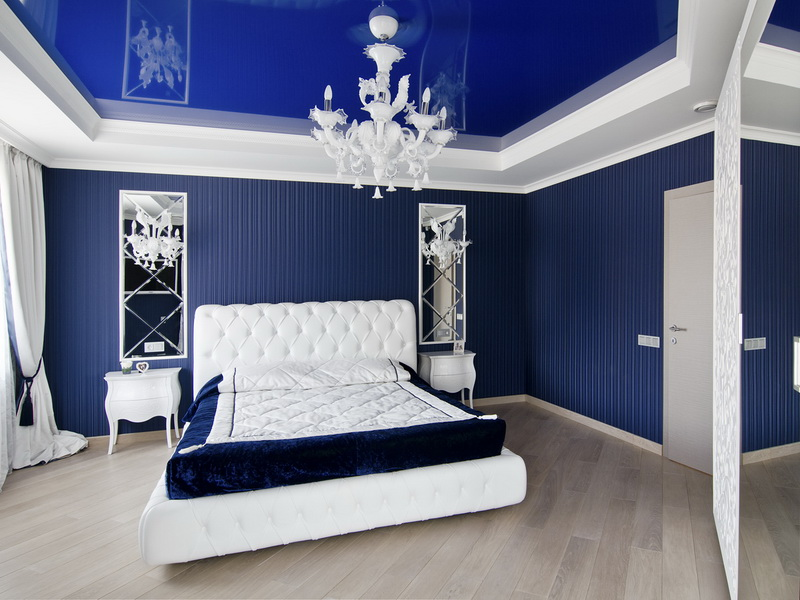 Интерьер спальни фото в синем цвете