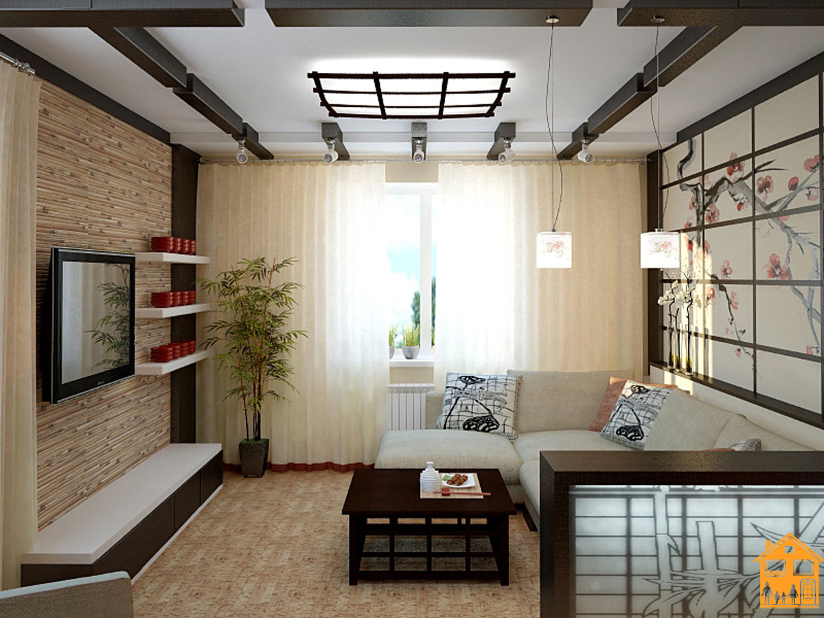 Интерьер однокомнатной квартиры в японском стиле фото