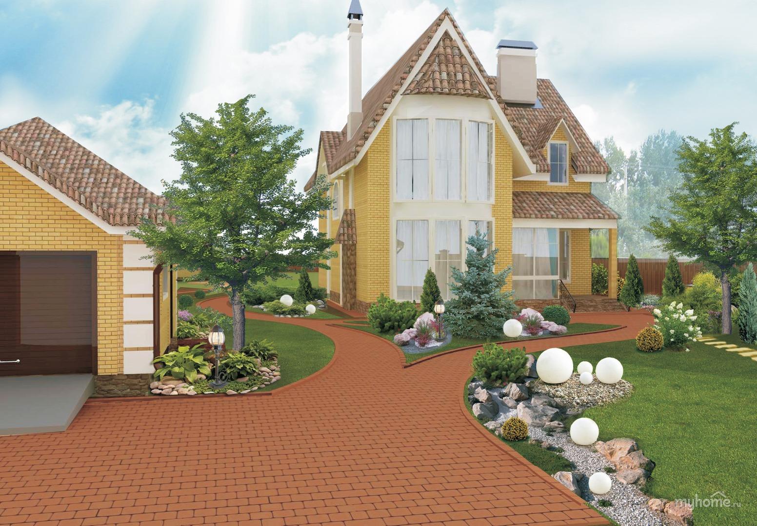 Дизайн придомовая территория частного дома фото 189