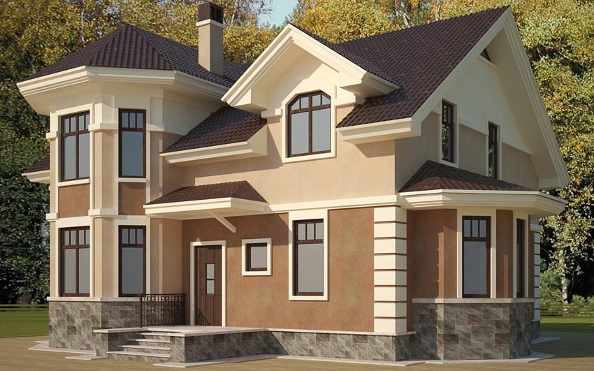 """Проект загородного дома с эркером no h-131-1p """" современный ."""
