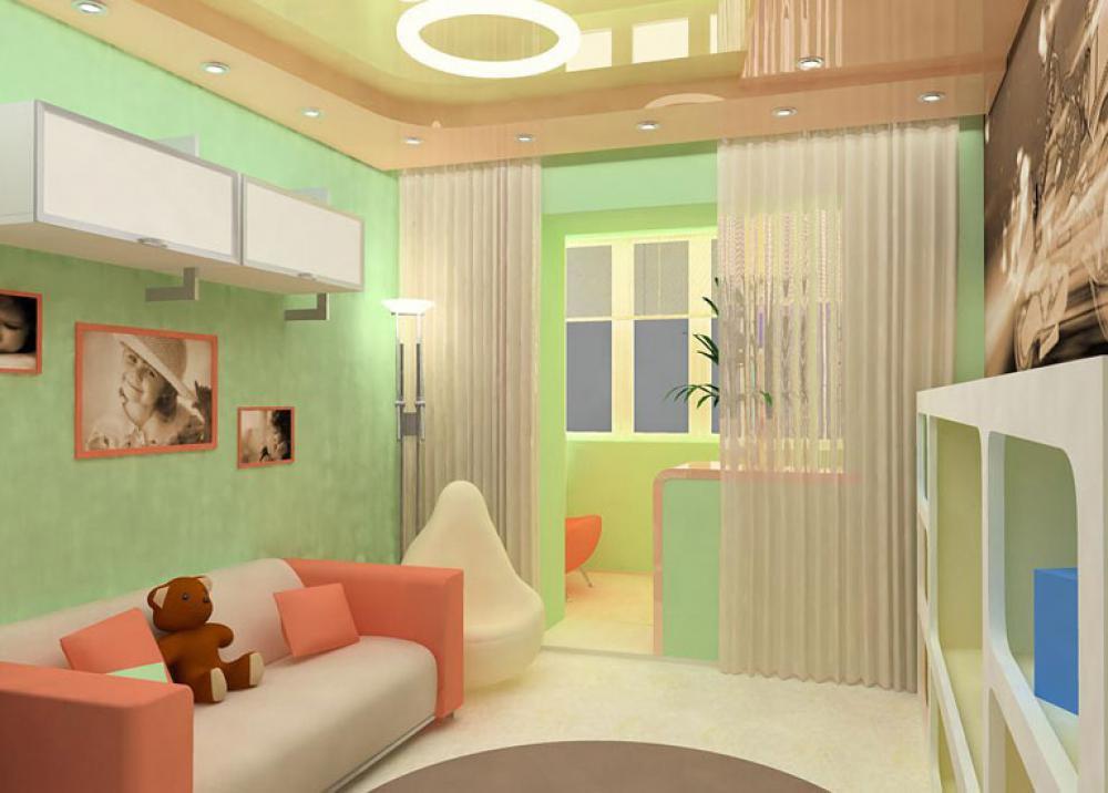 """Интерьер детской комнаты совмещенной с балконом """" современны."""