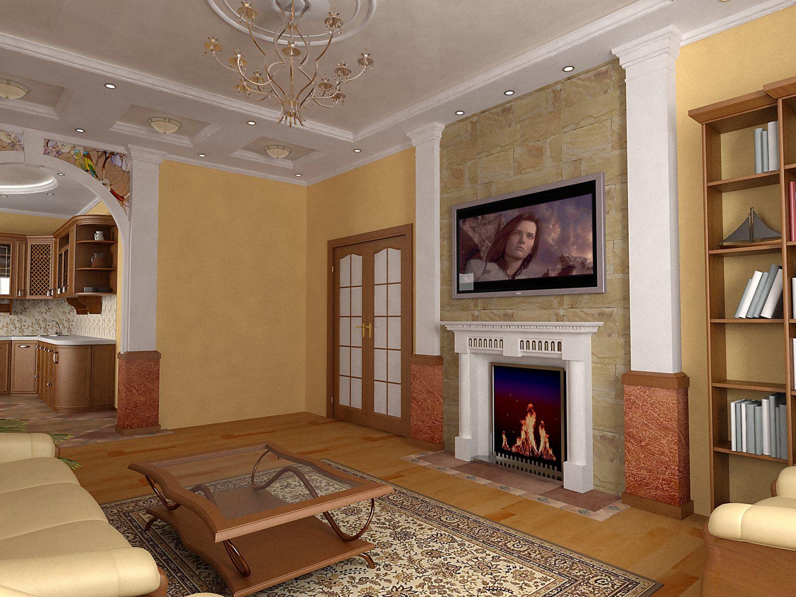 Интерьер в зале с камином дизайн