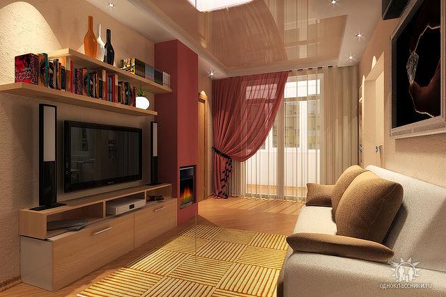 """Дизайн зала в хрущевке с балконом фото """" современный дизайн."""