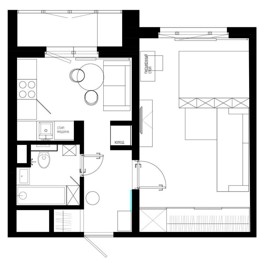 Однокомнатная квартира 32 кв м кухня 6 кв м в