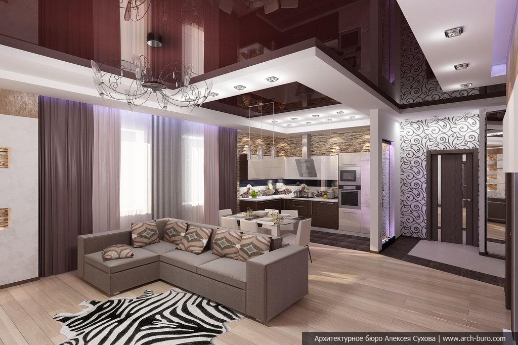 Дизайн гостиной совмещенной с кухней и прихожей