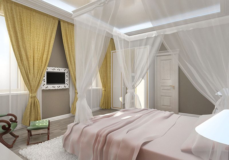 Дизайн спальни два окна на одной стене