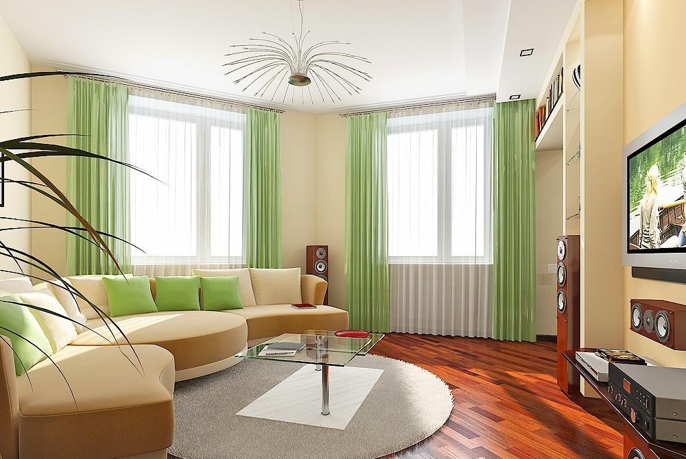 Дизайн угловой комнаты с двумя окнами на разных стенах