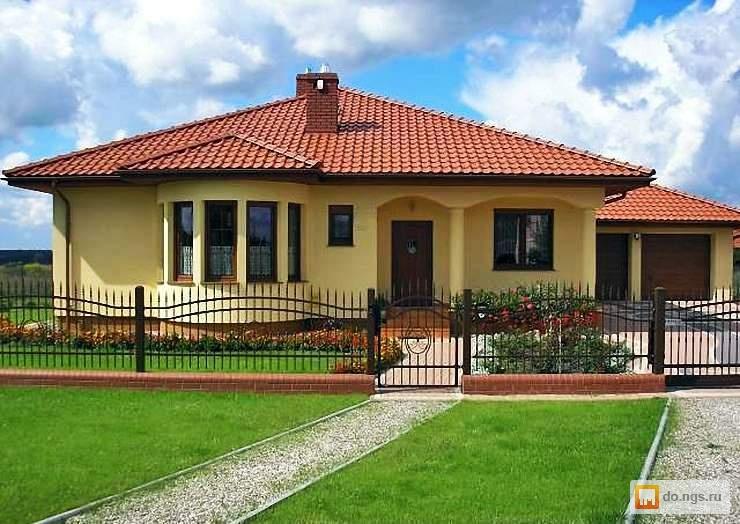 красивые одноэтажные дома фото из кирпича