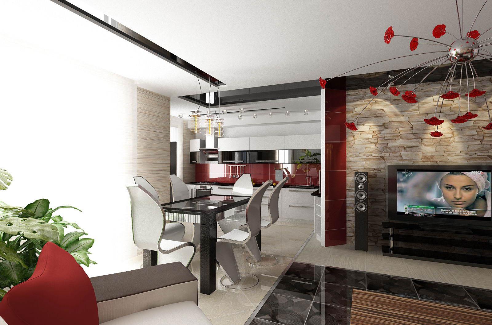 Дизайн кухни совмещенной с гостиной современных интерьеров