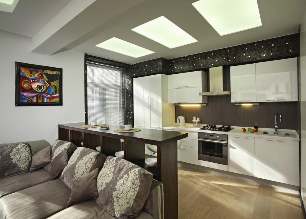 Дизайн интерьер кухни студии