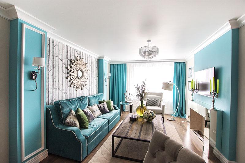 Интерьер зала в бирюзовом цвете фото