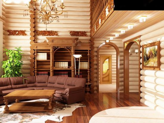 Дизайн в зале в деревянном доме