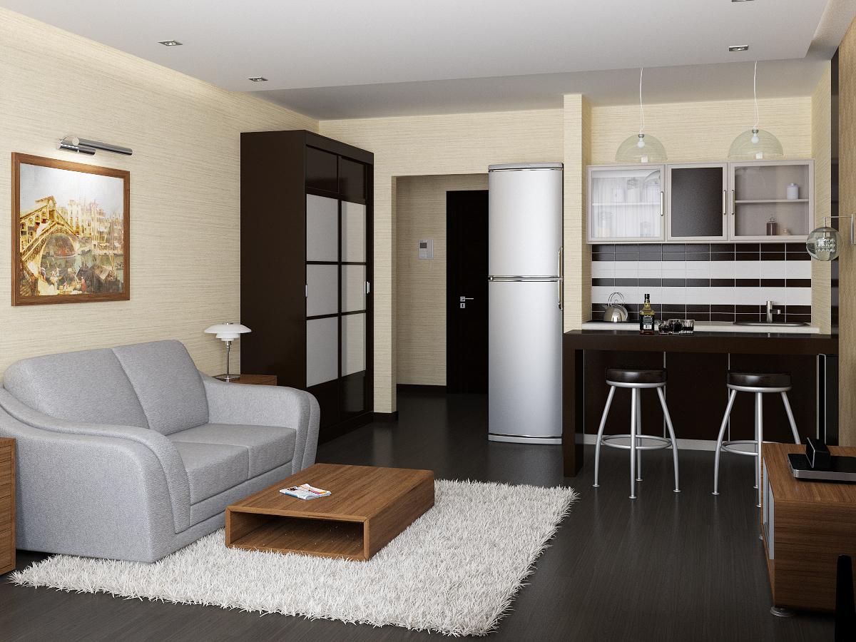 Маленькая комната студия с кухней дизайн