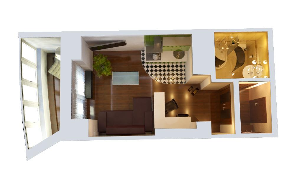 Планировка дизайн студии 25 квм