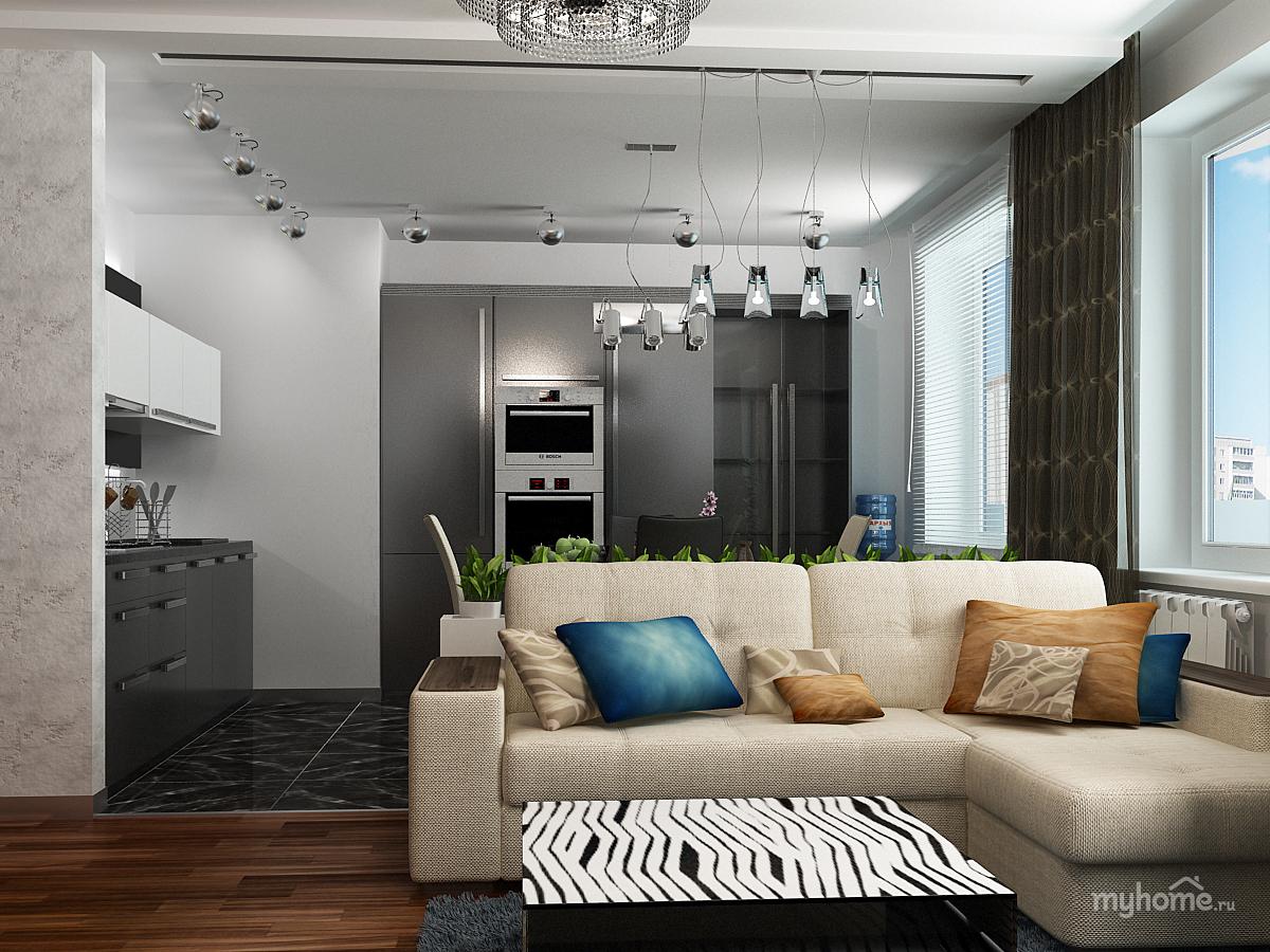 """Дизайн интерьера совмещенной кухни гостинной """" картинки и фо."""