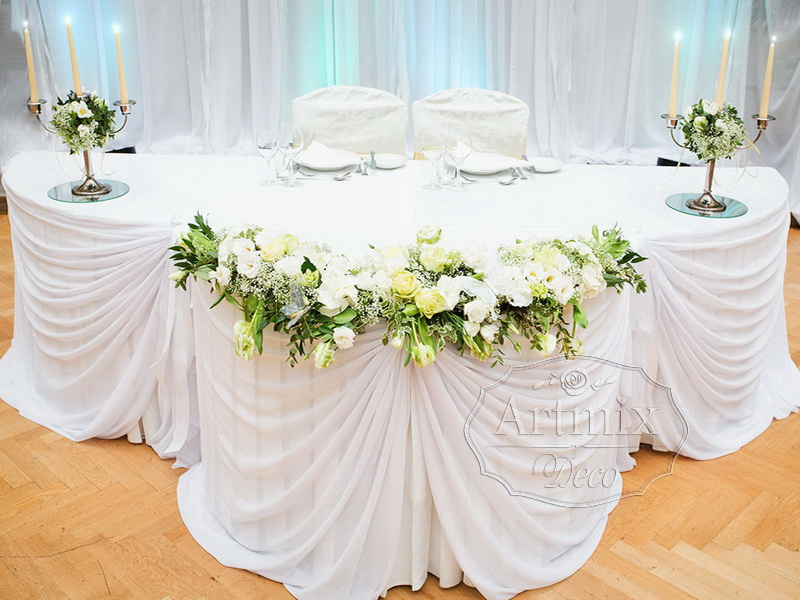Оформление свадебного стола для молодоженов своими руками
