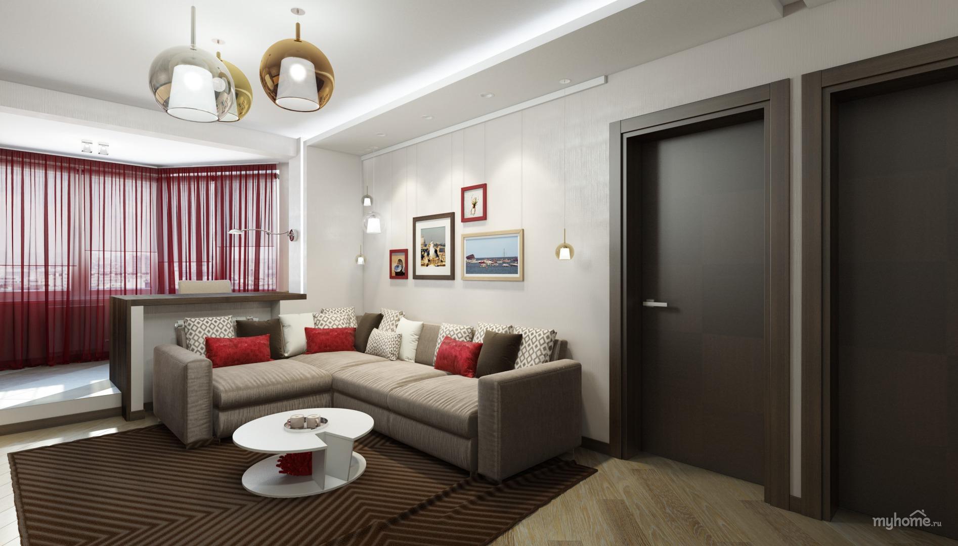 Дизайн интерьера 3-х комнатной квартиры фото п44т