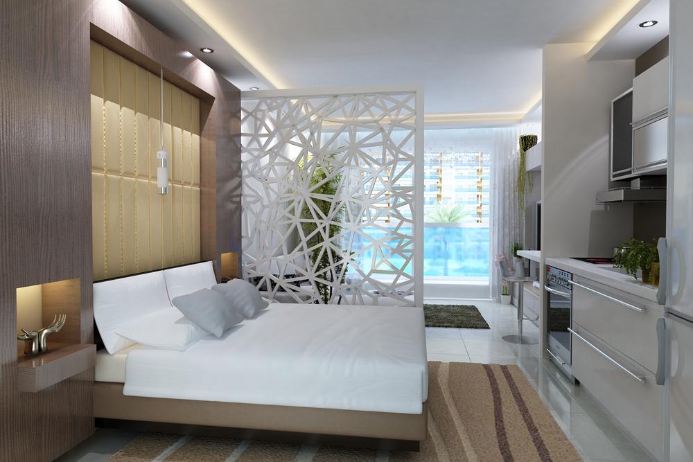 Дизайн однокомнатной квартиры 42 кв.м разделить на две зоны