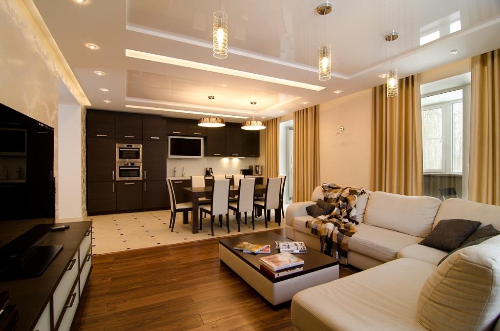 Дизайн пола кухни совмещенной с гостиной 98