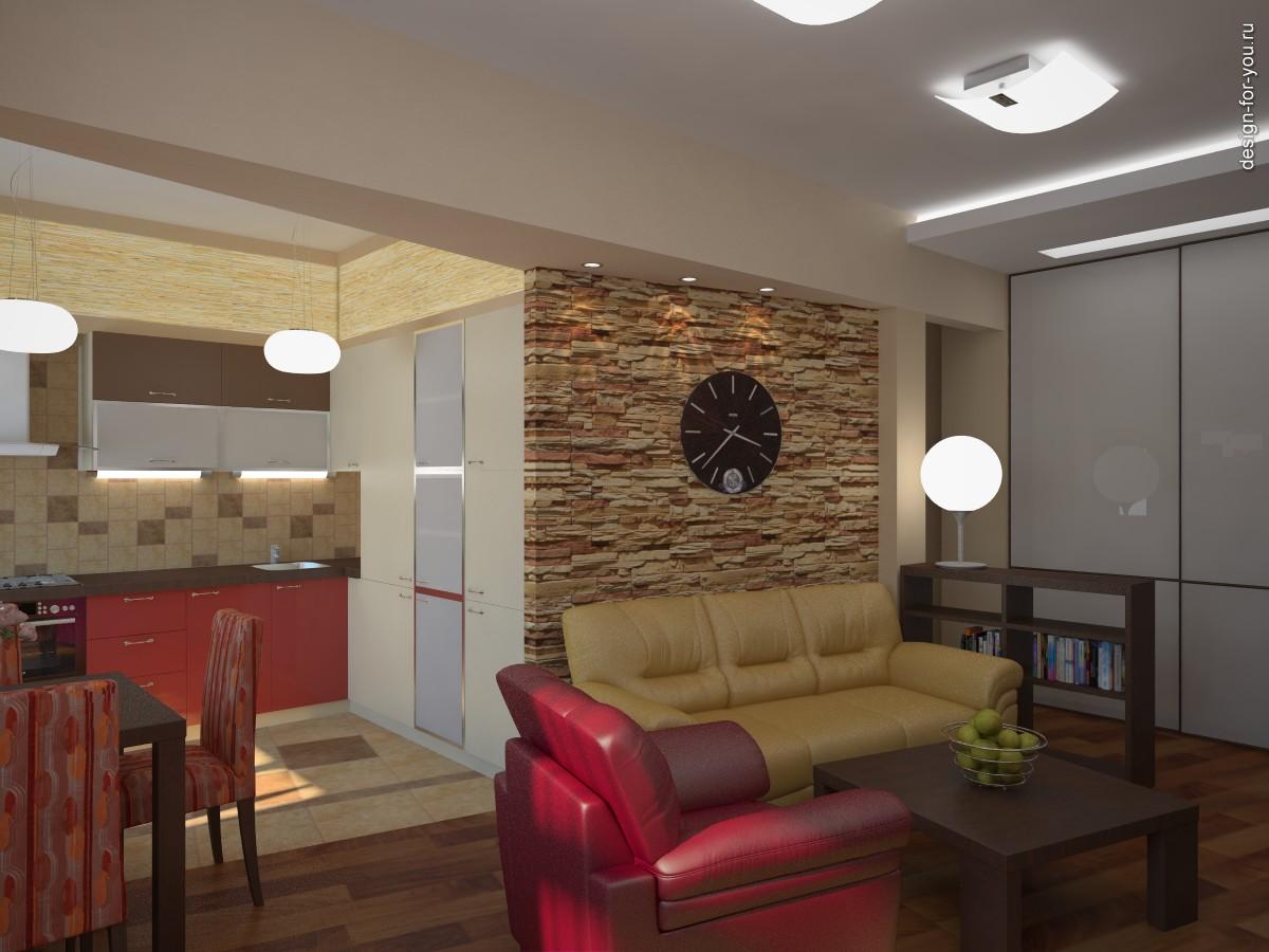 Совмещенная кухня с комнатой дизайн