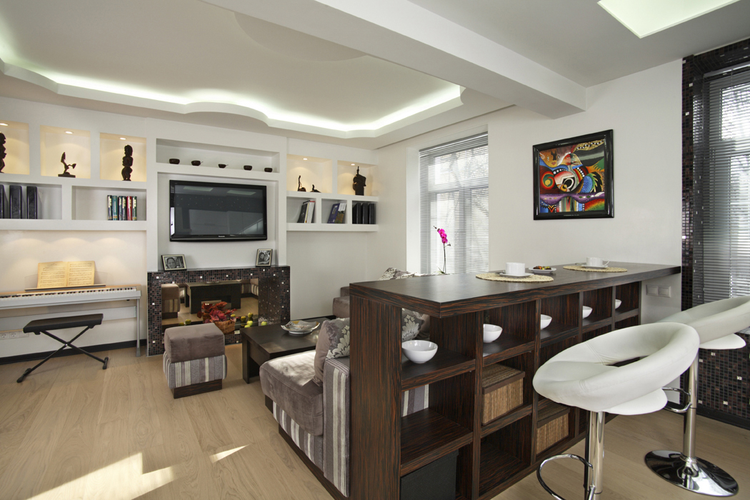 Кухня студия с барной стойкой дизайн фото 71