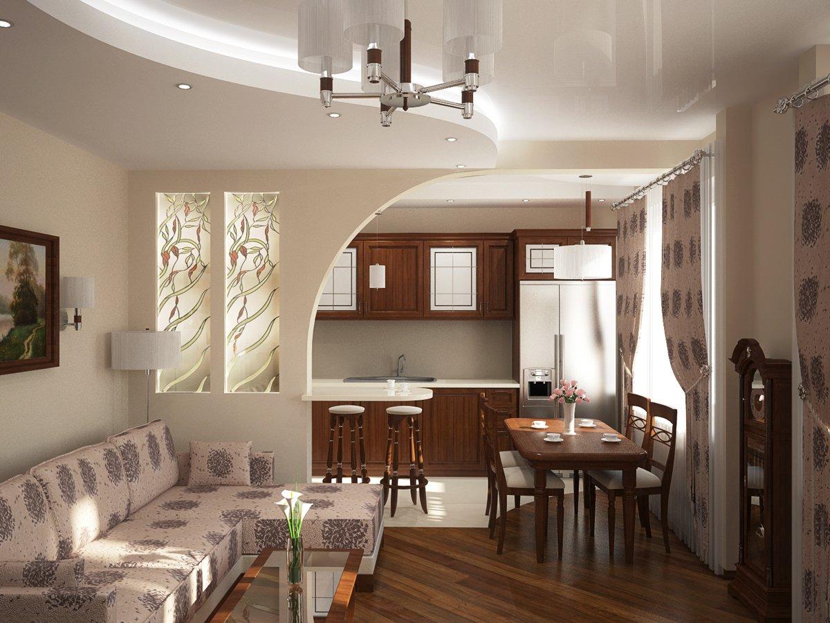 """Дизайн интерьера кухни совмещенной с гостиной фото """" Современный дизайн"""