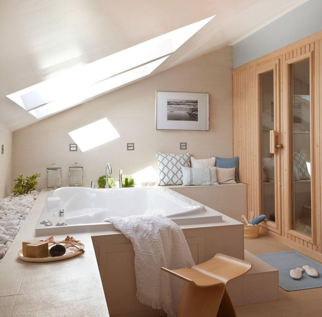 Фото дизайн ванной комнаты на мансарде
