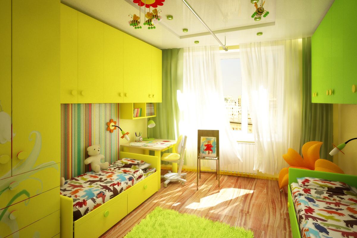 Дизайн детской комнаты для двух разнополых детей 22 квм
