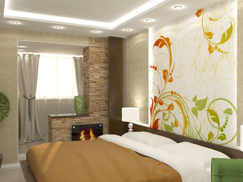 Интерьер спальни совмещенной с лоджией фото
