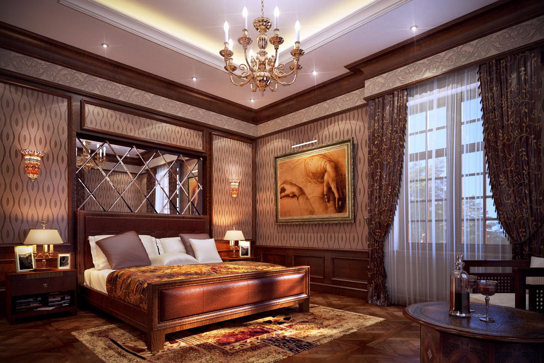 Картины в классическом интерьере спальни фото