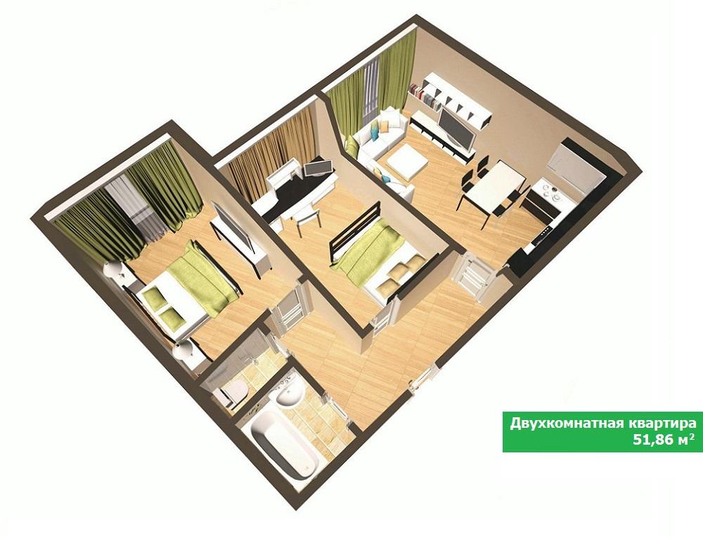 Дизайн квартиры 52 квм в панельном доме 130