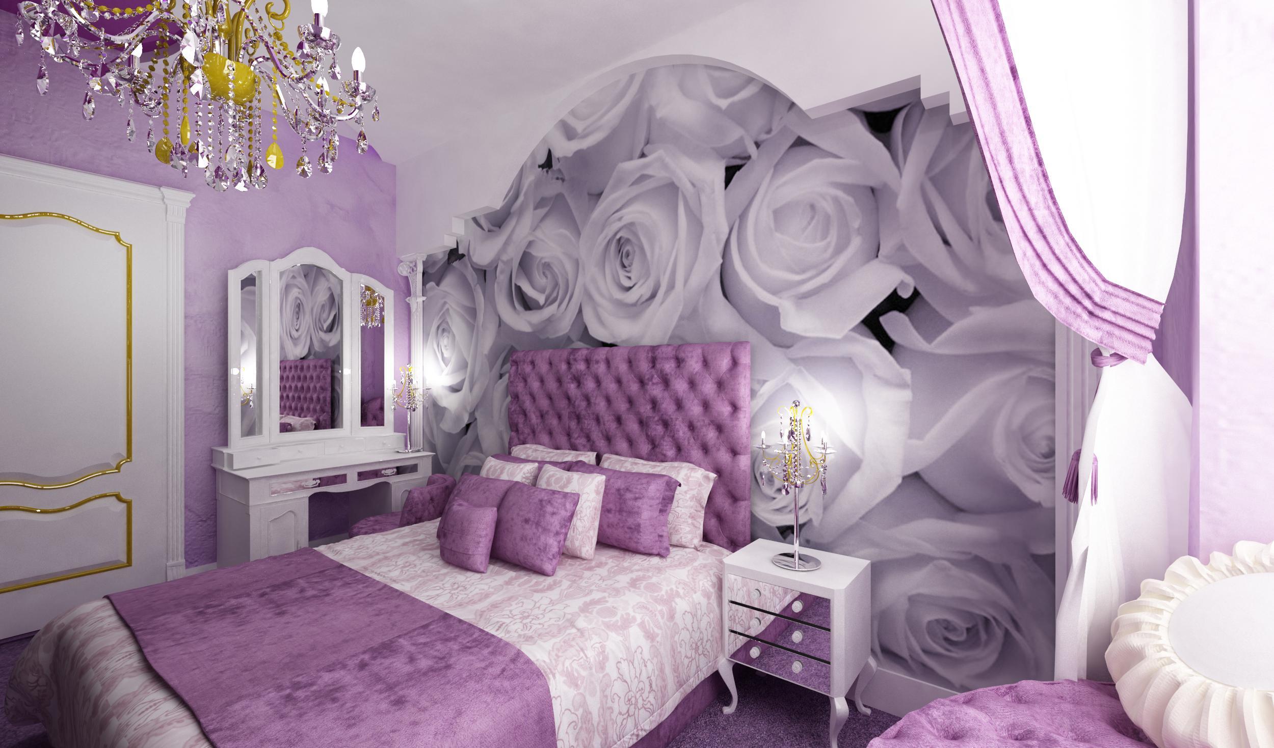Дизайн спальни сиреневого цвета с фотообоями