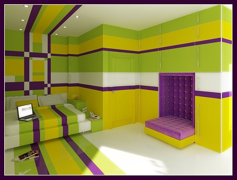 Сочетание зеленого и фиолетового в интерьере