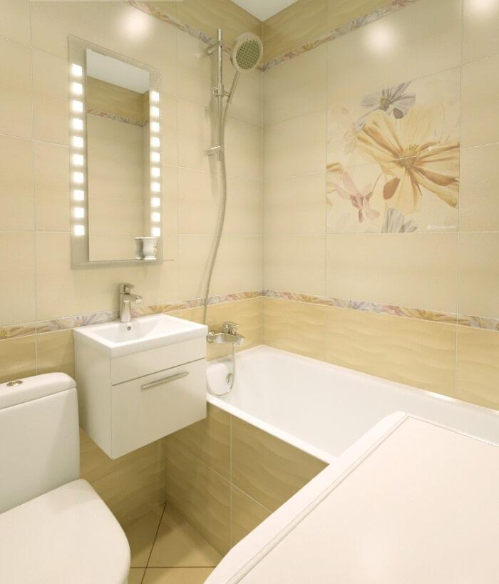 Ремонт в маленькой ванной плитка