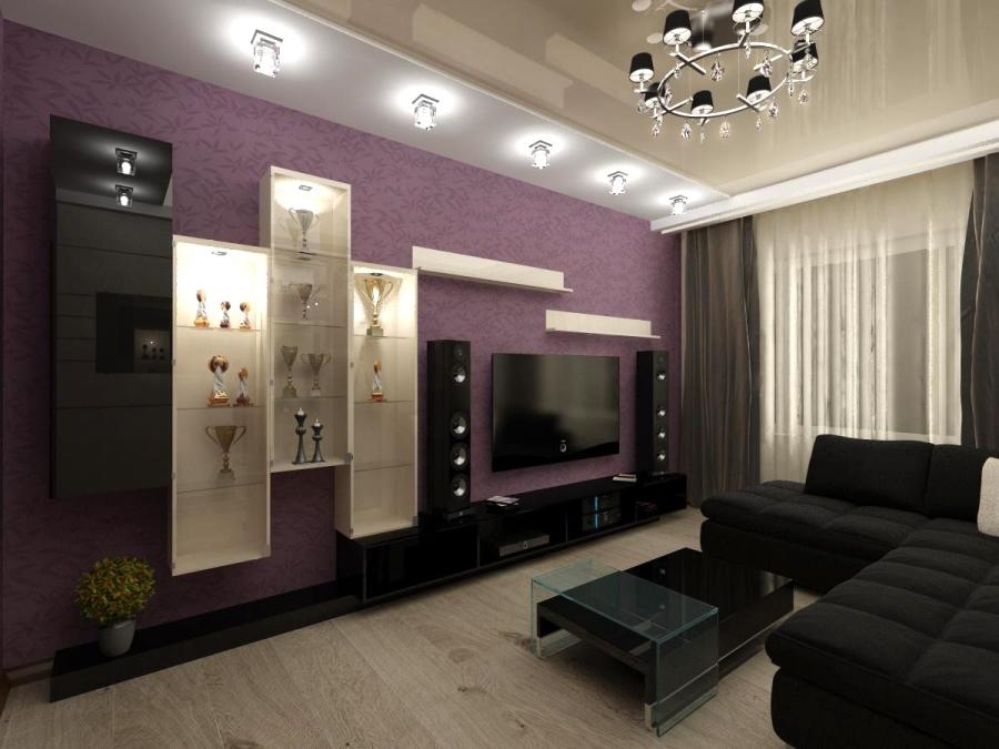 Сиренево серая гостиная дизайн