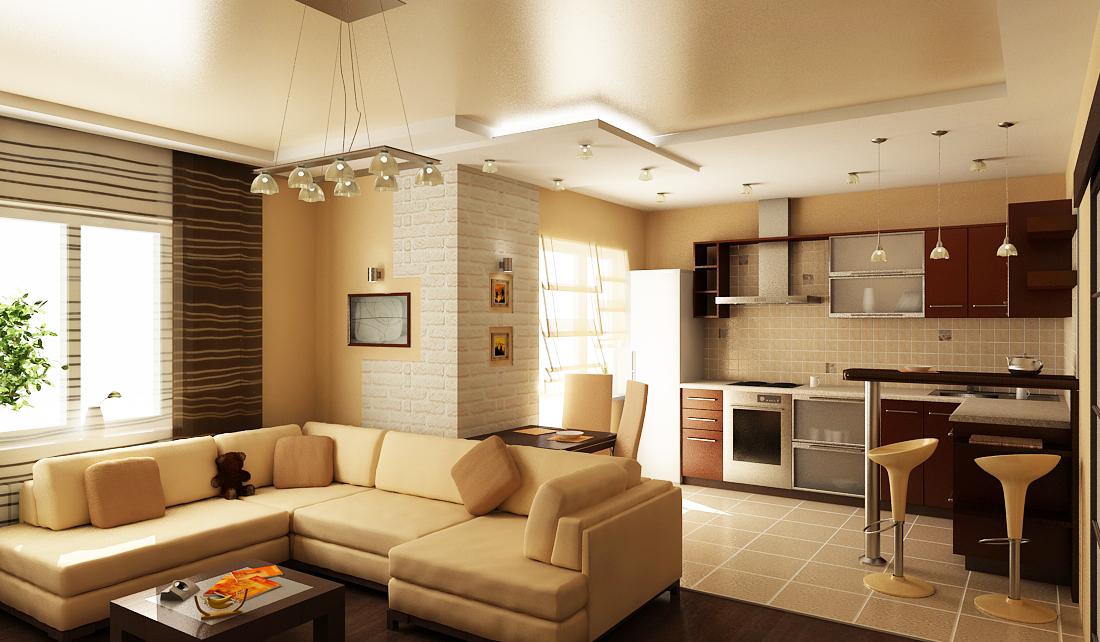 Дизайн кухни совмещенной со спальней