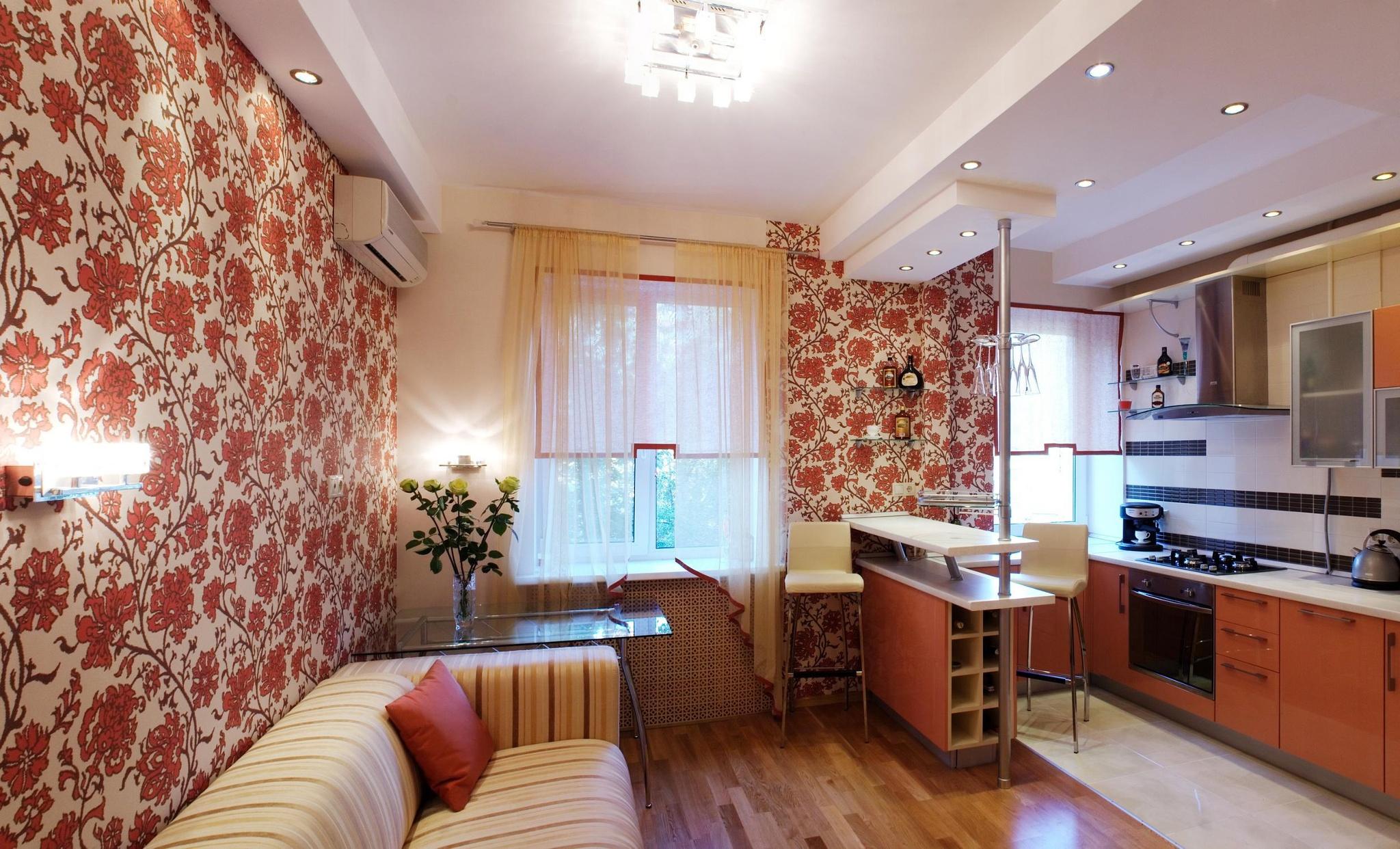 Дизайн кухня зал с фотообоями фото