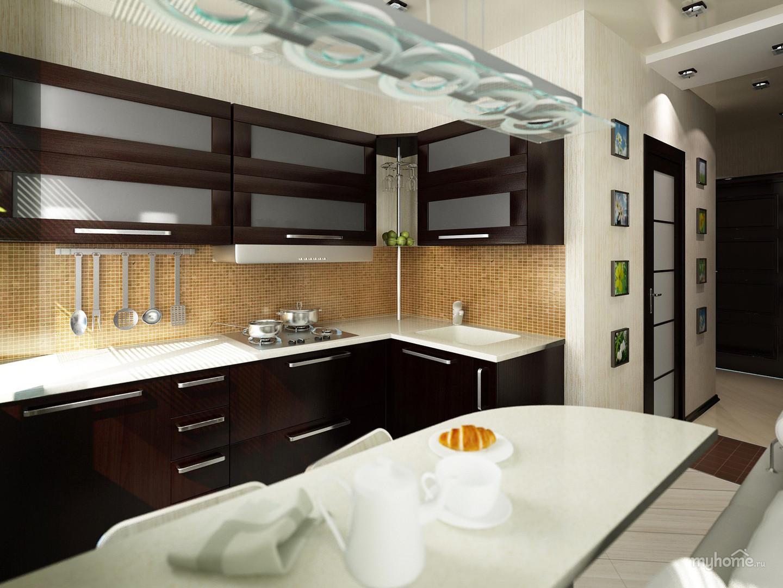 Интерьеры кухонь для однокомнатных квартир фото
